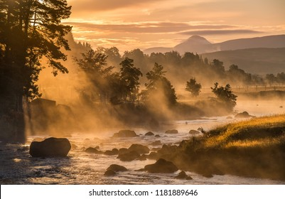 Misty start - River Gaur, Rannoch, Perthshire, Scotland