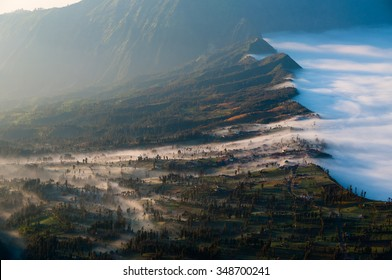 The misty sulfur fog of volcano Bromo  oozing  into the field in Indonesia