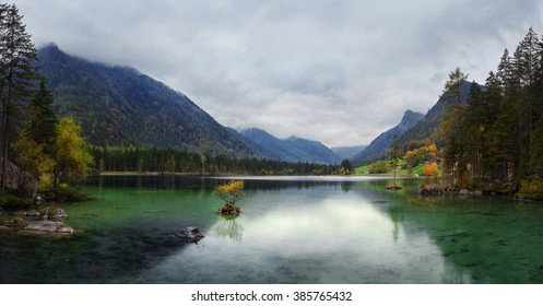 Misty summer morning on the Hintersee  lake in Austrian Alps