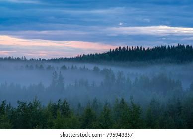 Misty summer night landscape in Finland
