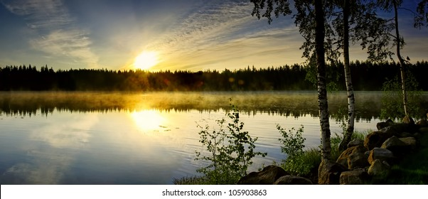 Misty sunrise on the lake