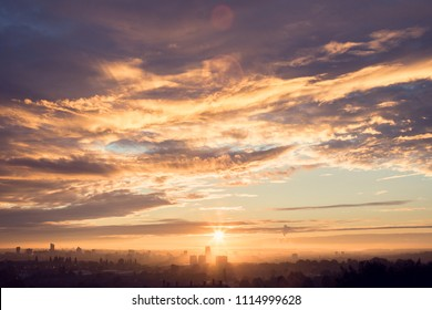 Misty sunrise over the City of Leeds in West Yorkshire, UK