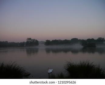 Misty sunrise over the lake