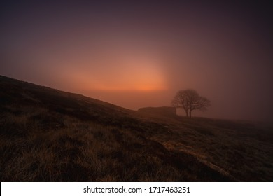 A misty sunrise produces a purple haze as mist rises above top withens, a derelict farmhouse associated with emily brontes novel wuthering heights