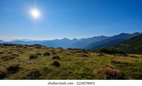 misty sunrise in Slovakian Tatra mountains with light lanes in fog over dark forest. autumn in hiking trails