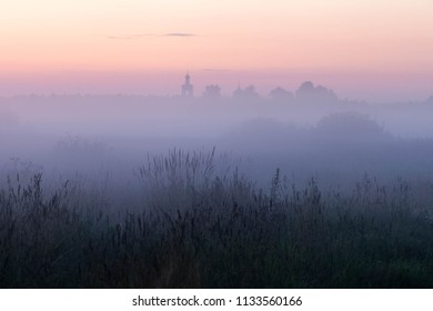 Misty sunset near Dubna, Moscow region, Russia