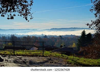 Misty valley on lake Varese