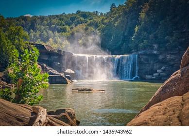 A misty view of Cumberland Falls State Park in Corbin, Kentucky, USA - Shutterstock ID 1436943962
