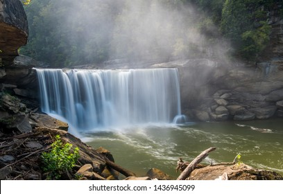 A misty view of Cumberland Falls State Park in Corbin, Kentucky, USA