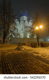 Misty winter evening in Suzdal Kremlin, Russia.