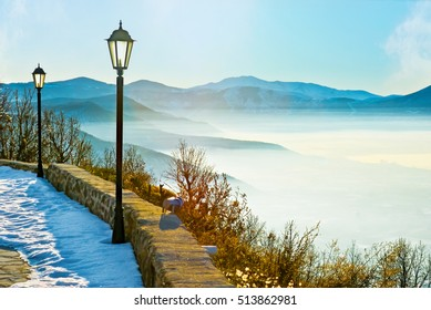 The misty winter morning in the mountains of Kastoria, Greece.