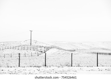 Misty winter scene with rows of barbed wire fences