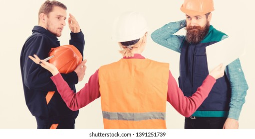 Misunderstanding concept. Builders and engineer arguing, misunderstanding. Team of architects, engineers discussing work, arguing, isolated white background. Men in hard hats and uniform and woman.
