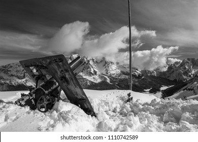 Misurina, Italy, Mar. 10 2016 Cannon from the first world war in winter, the location is Monte Piana