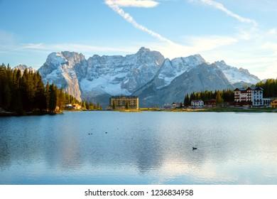 Misurina lake beautiful surroundings  the background Sorapiss mountain and Cristallo mountain of the north Dolomites in Italy, Europe. Near the lake the Drei Zinnen mountain ((Tre Cime di Lavaredo)