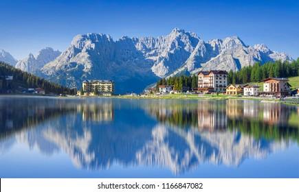 Misurina lake in Dolomites, Italy landscape