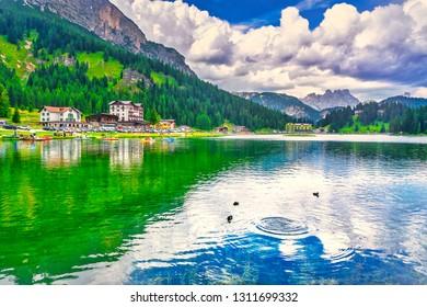Misurina lake and Dolomites mountains. Auronzo di Cadore, Belluno Veneto Italy, Europe.