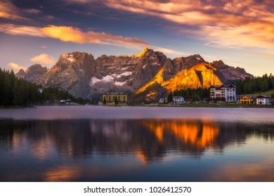 Misurina Lake, on Dolomites (Italian Alps) seen at sunrise. Sorapiss mountain in the background. South Tyrol, Dolomites, Italy.