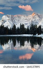 Misurina Lake and Sorapis Mountains Group in the Dolomites, Italy, Europe
