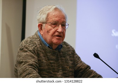 MIT Professor Noam Chomsky delivered the keynote speech in a conference on the Freedom of the Press in the Middle East was held in Boston College in 15 November 2015.