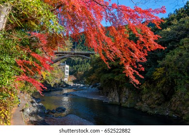 Mitake town and Tama river, beautiful small town in autumn season.