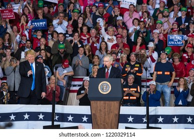 Mitch McConnell speaks as President Donald Trump points to the crowd 10.13.18 Richmond, Kentucky MAGA Rally