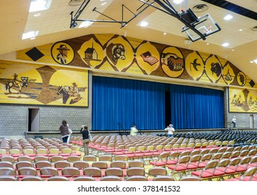 """Mitchell, South Dakota - May 10 2008: Interior of famous """"The World's Only Corn Palace"""" known widely for its walls covered with corn."""
