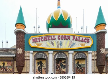 """Mitchell, South Dakota - May 10 2008: Exterior of  famous """"The World's Only Corn Palace"""" known widely for its walls covered with corn."""