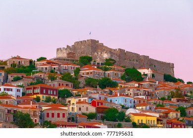 MITHIMNA, LESVOS, GREECE - AUGUST 2017: The castle of Molyvos against a clear sky on the north part of Lesvos, in the province of Ancient Mithymna, the second biggest and most important fortress in th