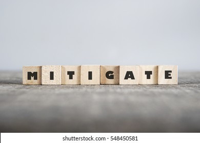 MITIGATE word made with building blocks