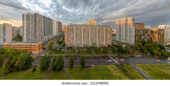 Mitino District is administrative district  of North-Western Administrative Okrug, and one of raions of Moscow, Russia 2018. Modern commuter town may also be known as exurb (short for extra-urban)