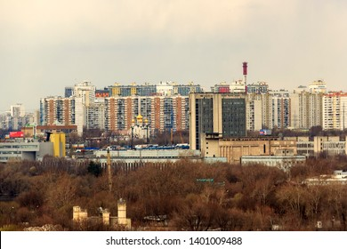Mitino District is administrative district of North-Western Administrative Okrug, and one of raions of Moscow, Russia may 2019. Modern commuter town, exurb (short for extra-urban)