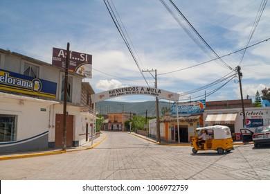 MITLA / MEXICO - AUGUST2014: Entrance of the town of ruins of the pre-hispanic Zapotec Mitla, Puebla, Mexico