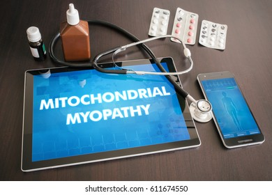 Mitochondrial myopathy (neurological disorder) diagnosis medical concept on tablet screen with stethoscope.
