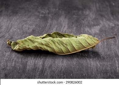 Mitragyna leaf on the wooden, clipping path