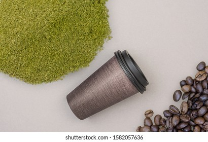 Mitragynina speciosa Kratom powder coffee cup and coffee beans, concept of using Kratom in food industry