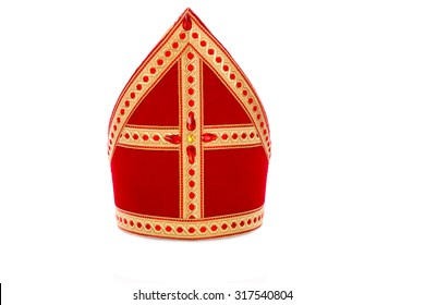 Mitre or mijter of Sinterklaas. Isolated on white backgroud. Part of a dutch santa tradition with zwarte piet and st. nicholas.