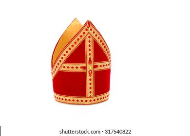 Mitre or mijter of Sinterklaas. Isolated on white backgroud. Part of a dutch santa tradition