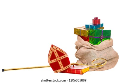 Mitre or miter sack with gifts and staff of saint nicholas. Isolated on white background. Sinterklaas border