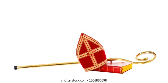Mitre or miter and staff of saint nicholas. Isolated on white background. Sinterklaas border