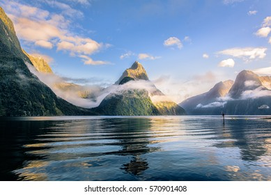 Mitre peak at Milford sound - Shutterstock ID 570901408