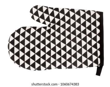 Mitt oven glove black white plaid triangles modern design