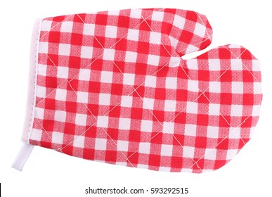 Mitt oven glove red white plaid