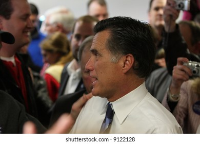 Mitt Romney after a speech at Freeway Ford in Denver, Colorado talking to supporters