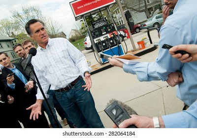 Mitt Romney holds a press conference at Hillsborough Gas & Repair in Manchester, New Hampshire, April 29, 2011, to talk about gas prices.