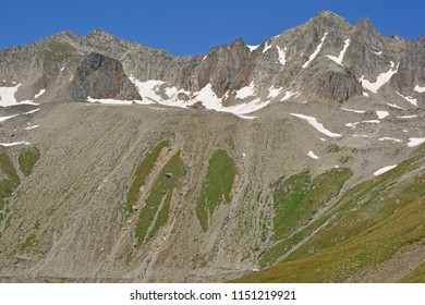 The Mittaghorn (left) and the Punta Gallina (right) in the Southern Swiss Alps viewed from the Nufenen Pass