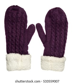 Mittens isolated on white background. Knitted mittens. Mittens top view. purple mittens .
