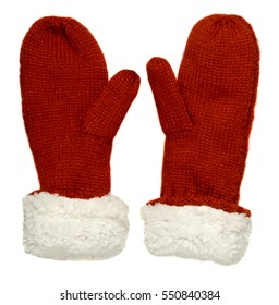 Mittens isolated on white background. Knitted mittens. Mittens top view.red white mittens