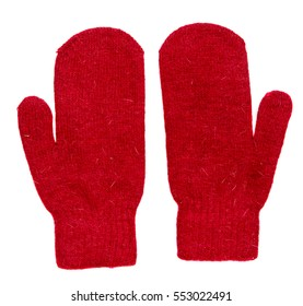Mittens isolated on white background. Knitted mittens. Mittens top view.red mittens.