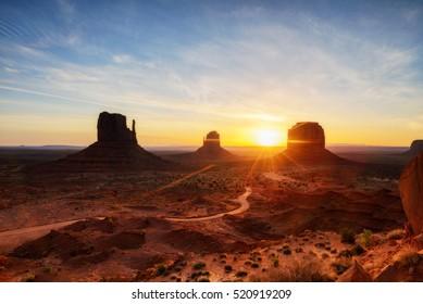The mittens, Mesa, red rock at Monument Valley, Navajo Tribal Park, Arizona USA